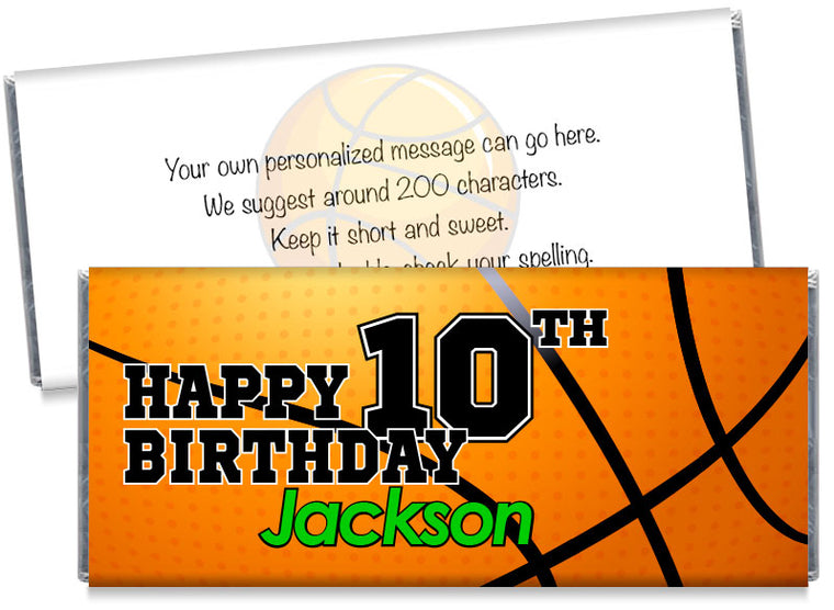 Large Basketball Boy Birthday Party Candy Bar Wrappers