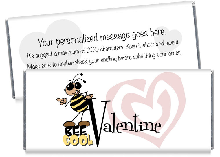 Bee Cool Baseball Valentine's Day Candy Bar Wrappers