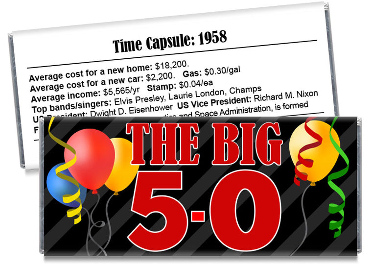 The Big 5-0 Any Age Adult Birthday Party Candy Bar Wrappers