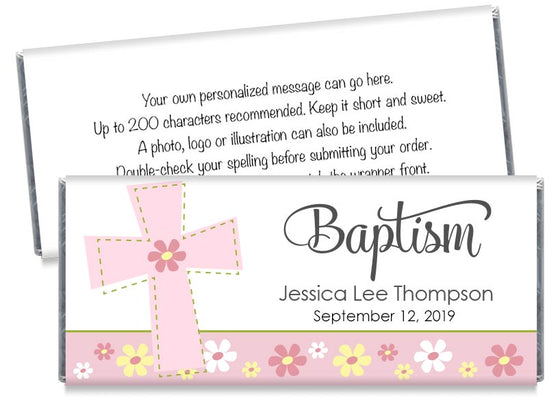 Big Cross Girl Baptism Candy Bar Wrappers