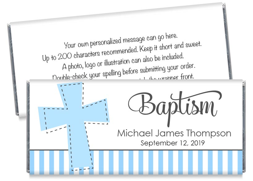 Big Cross Boy Baptism Candy Bar Wrappers
