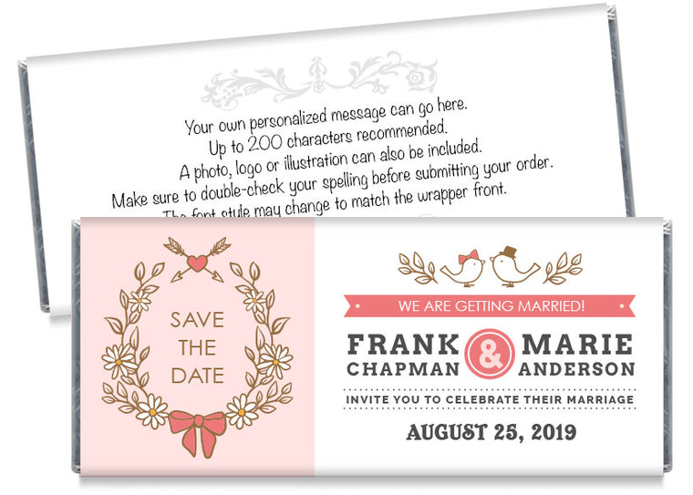Birds Save the Date Wedding Candy Bar Wrappers