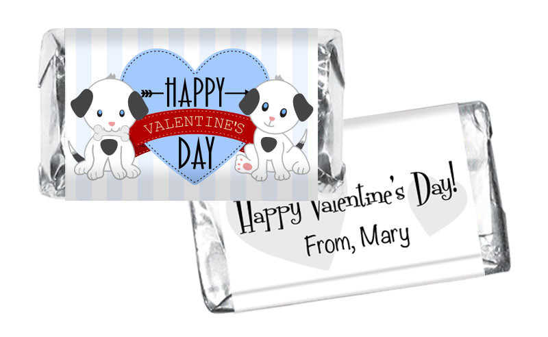 Blue Dog Stripes Valentine's Day Mini Bar Wrappers