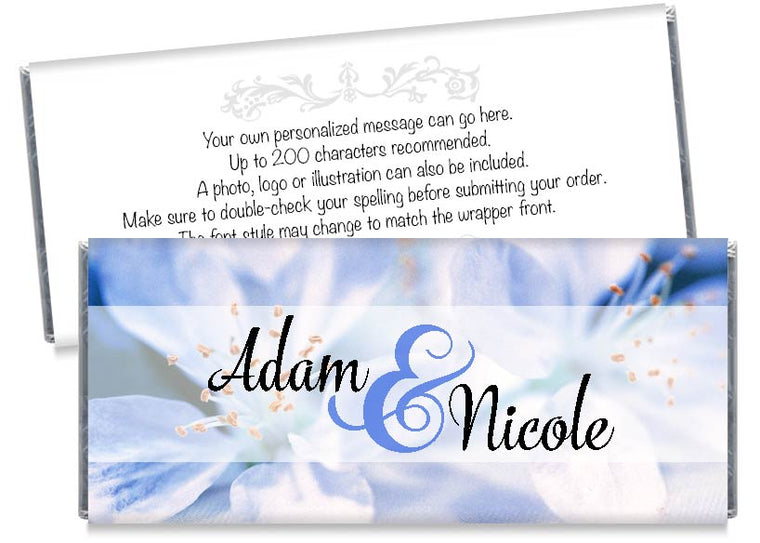 Blue and White Flowers Wedding Candy Bar Wrappers