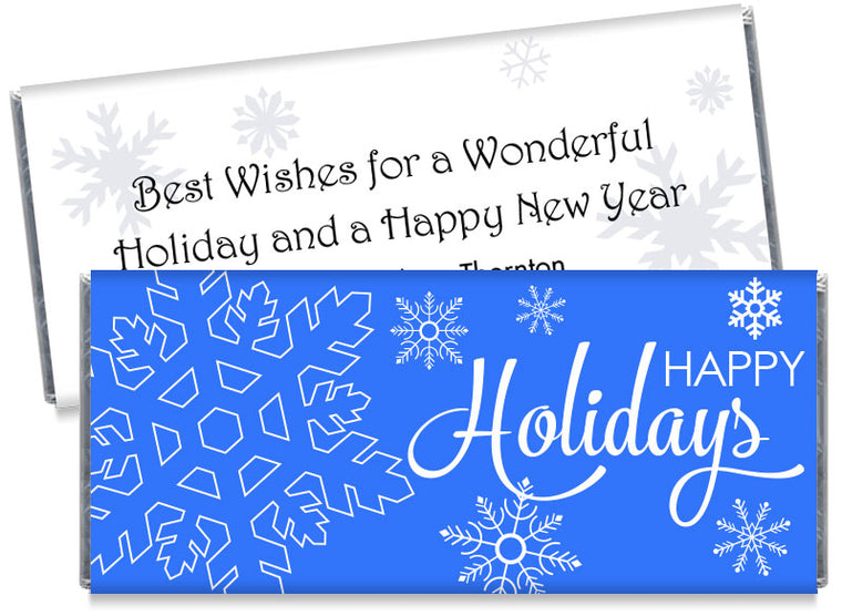 Happy Holidays Snow Flakes Candy Bar Wrappers