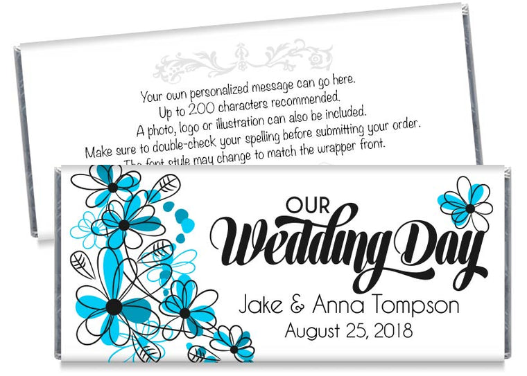 Our Wedding Day Blue Flowers Wedding Candy Bar Wrappers