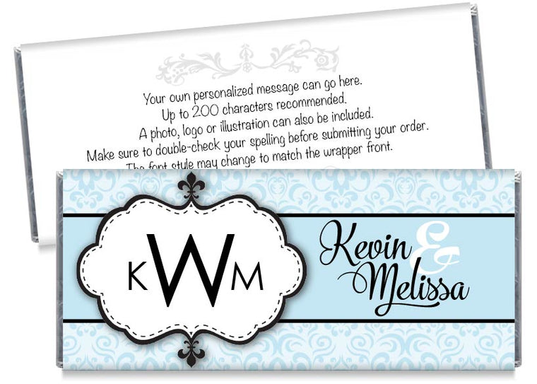 Paisley Monogram Wedding Candy Bar Wrappers