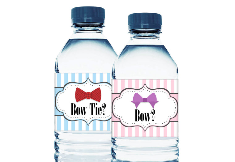 Bow or Bow Tie Personalized Gender Reveal Baby Shower Water Bottle Labels