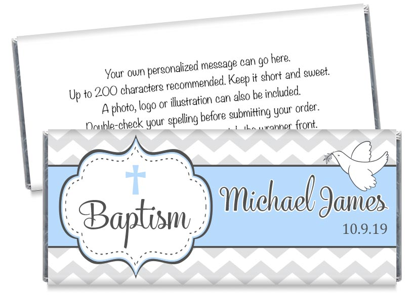 Dove Boy Baptism Candy Bar Wrappers