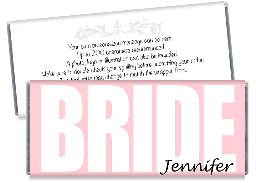 BRIDE Wedding or Bridal Shower Candy Bar Wrappers