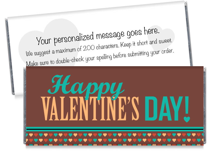 Brown Valentine's Day Candy Bar Wrappers