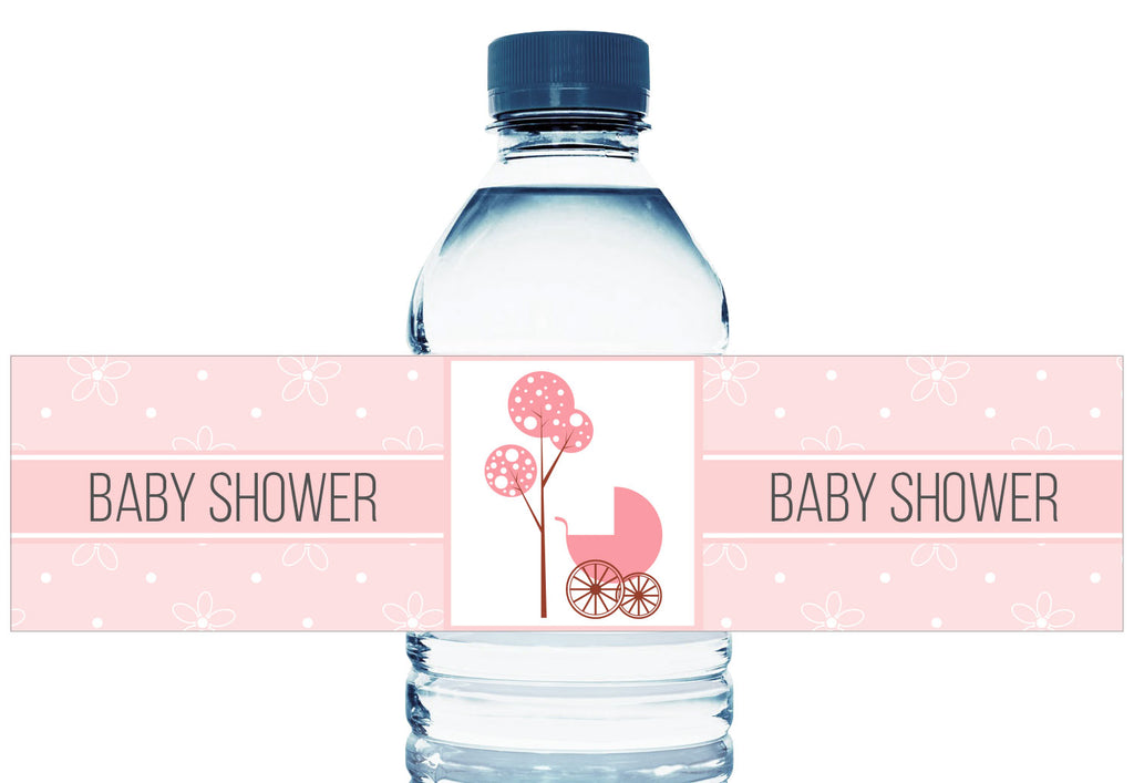 Baby Carriage Personalized Girl Baby Shower Water Bottle Labels