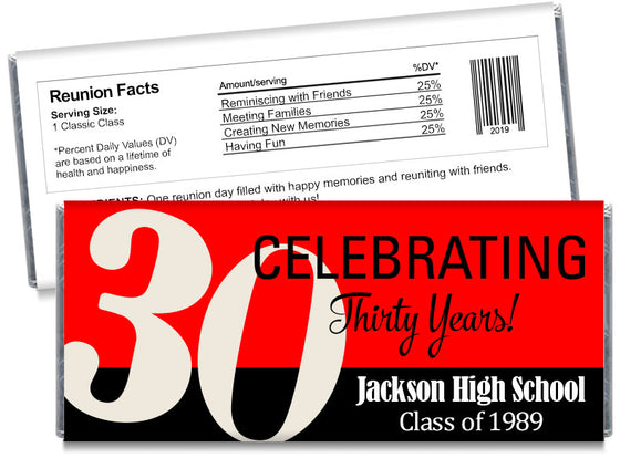 Celebrating 30, 40 50, any year, School Reunion Candy Bar Wrappers