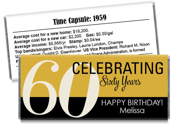 Celebrating 60, 70, 80, any age, Adult Birthday Candy Bar Wrappers