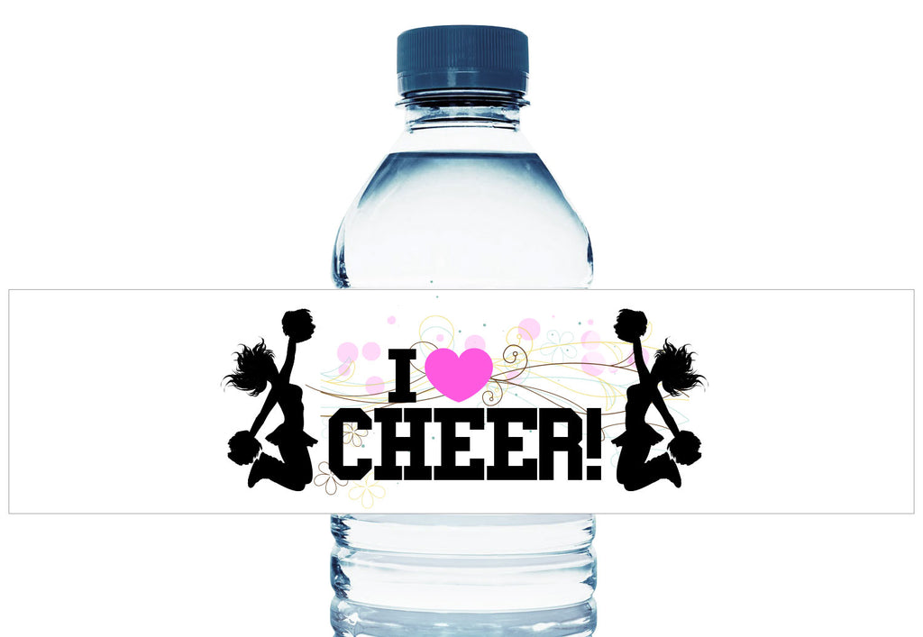 I Heart Cheer Girl Birthday Party Water Bottle Labels