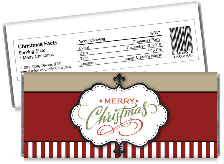 Christmas Stamp Candy Bar Wrappers