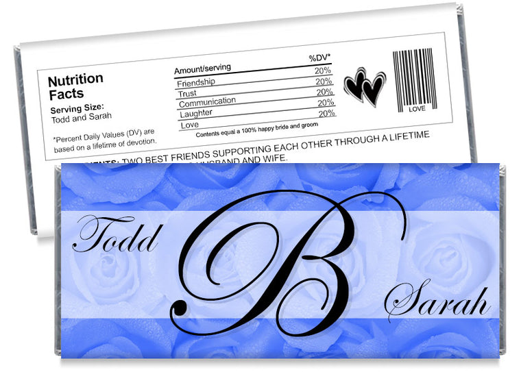 Blue Roses Monogram Wedding Candy Bar Wrappers