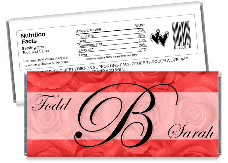 Red Roses Monogram Wedding Candy Bar Wrappers