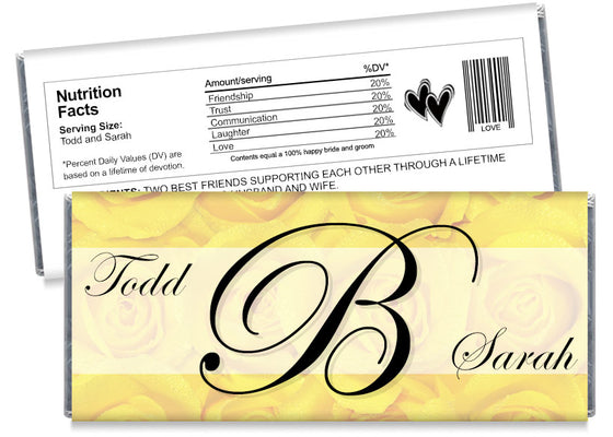 Yellow Roses Monogram Wedding Candy Bar Wrappers