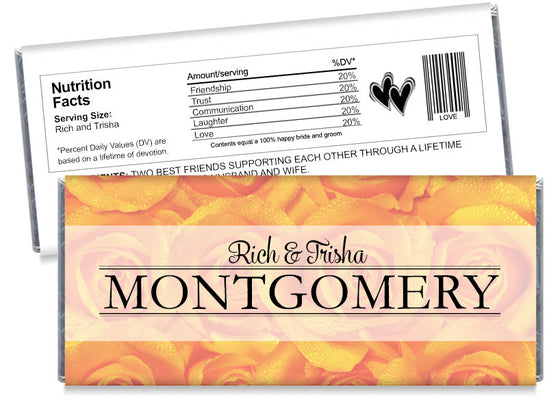 Orange Roses Wedding Candy Bar Wrappers