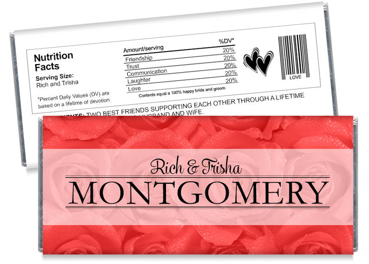 Red Roses Wedding Candy Bar Wrappers