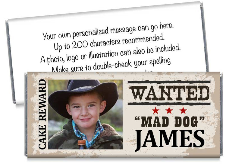 Cowboy Western Photo Boy Birthday Party Candy Bar Wrappers