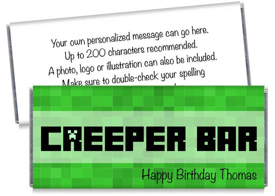 Creeper Bar Boy Birthday Party Candy Bar Wrappers