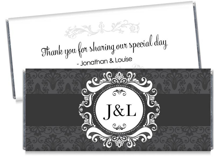 Dark Gray Paisley Monogram Wedding Candy Bar Wrappers