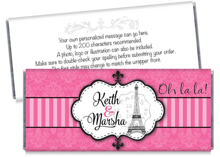 Pink Paris Wedding Candy Bar Wrappers