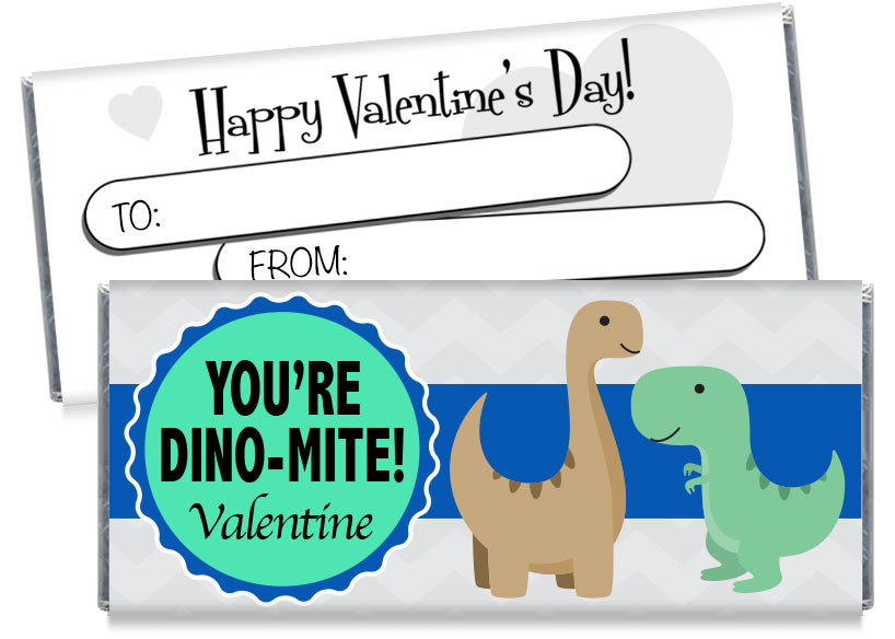Dinosaur Valentine's Day Candy Bar Wrappers