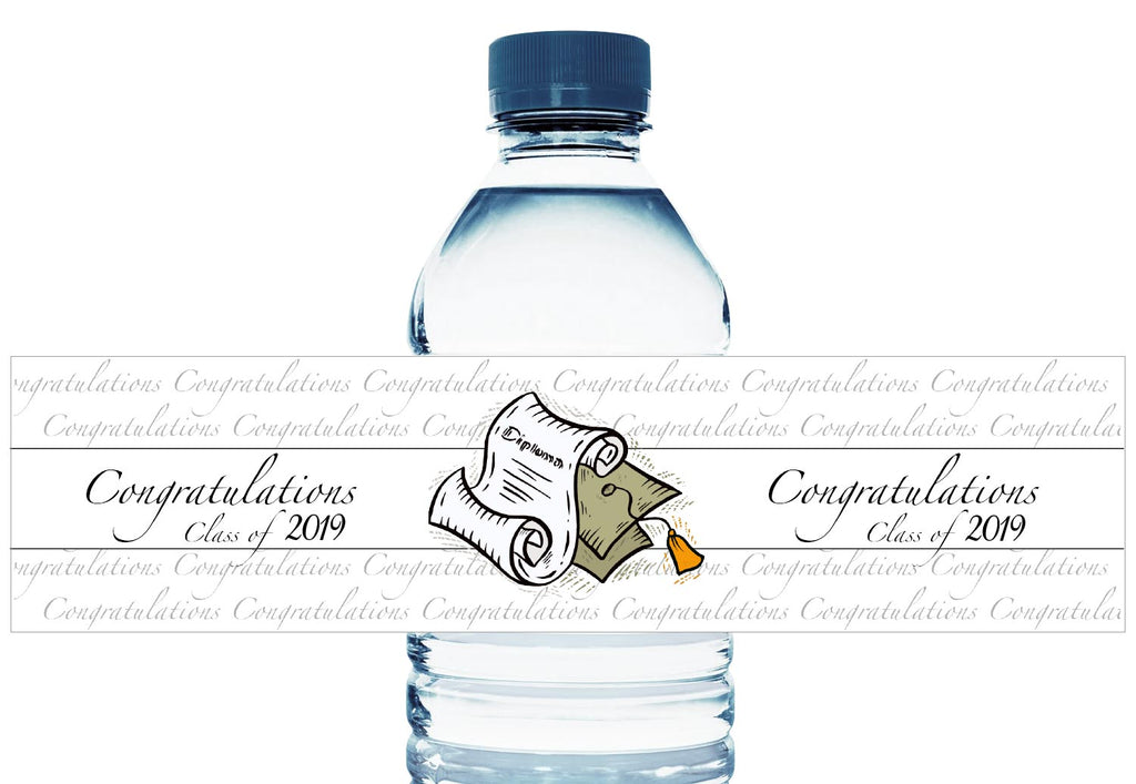 Congratulations Class of 2019 Personalized Graduation Water Bottle Labels