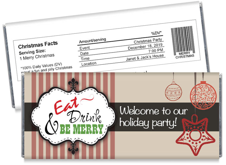Eat Drink and Be Merry Christmas Candy Bar Wrappers
