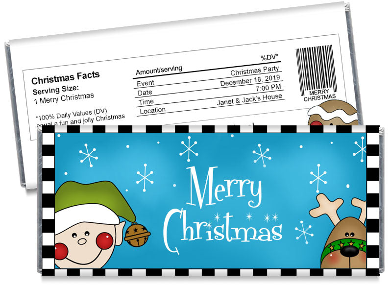 Elf and Reindeer Christmas Candy Bar Wrappers