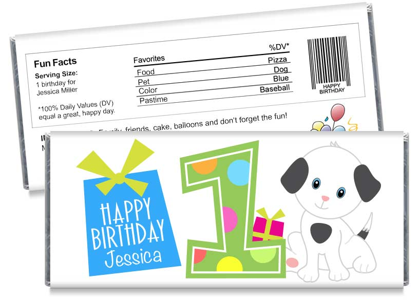 1st Birthday Party, any year, Boy Birthday Party Candy Bar Wrappers
