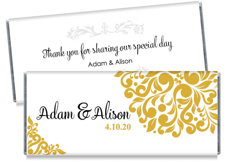 Gold Elegant Floral Wedding Candy Bar Wrappers