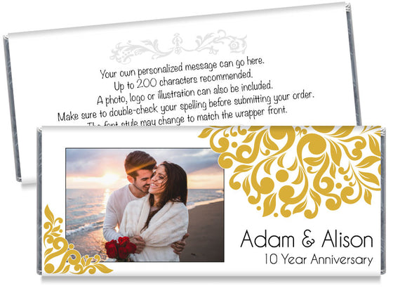 Floral Illustration with Photo Wedding Anniversary Candy Bar Wrappers