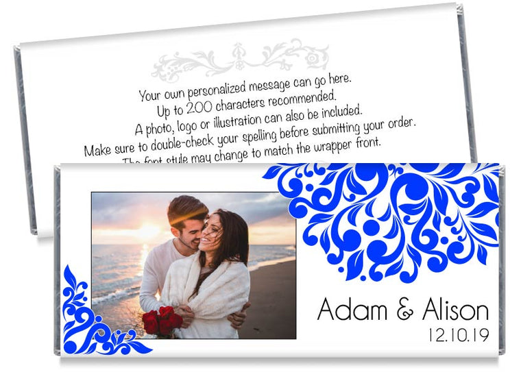 Blue Elegant Floral Photo Wedding Candy Bar Wrappers