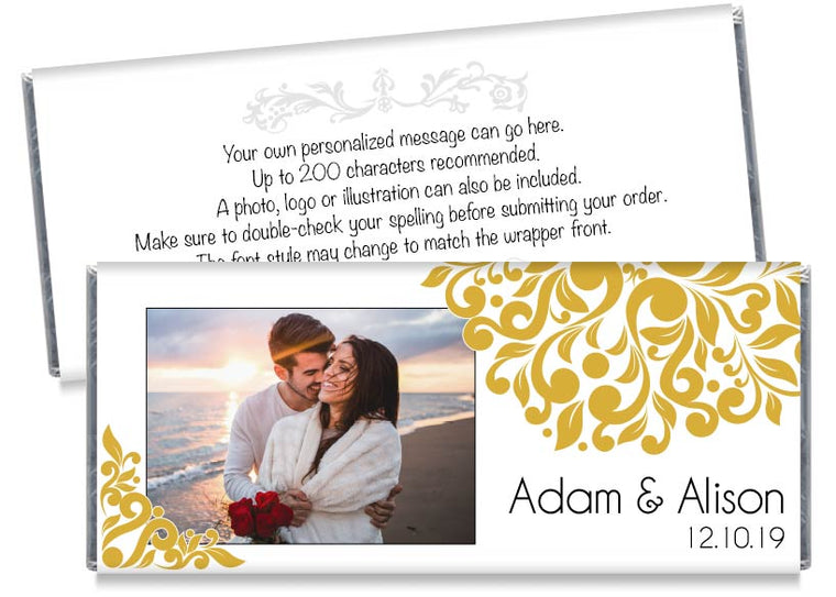 Elegant Floral Photo Wedding Candy Bar Wrappers
