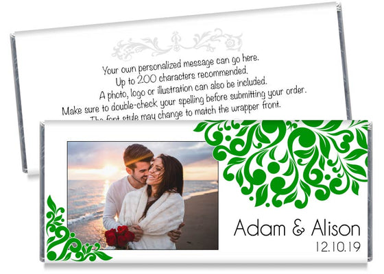 Green Elegant Floral Photo Wedding Candy Bar Wrappers
