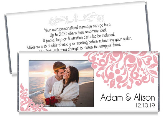 Pink Elegant Floral Photo Wedding Candy Bar Wrappers
