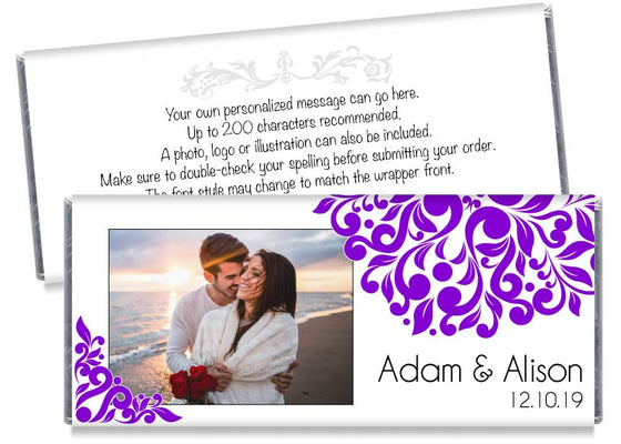 Purple Elegant Floral Photo Wedding Candy Bar Wrappers