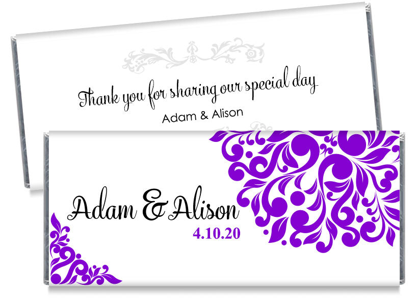 Purple Elegant Floral Wedding Candy Bar Wrappers