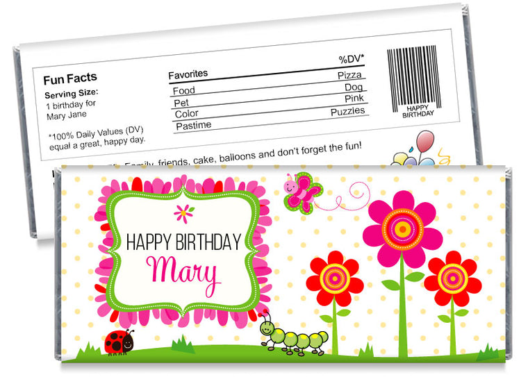 Flowers Bugs and Butterflies Girl Birthday Candy Bar Wrappers