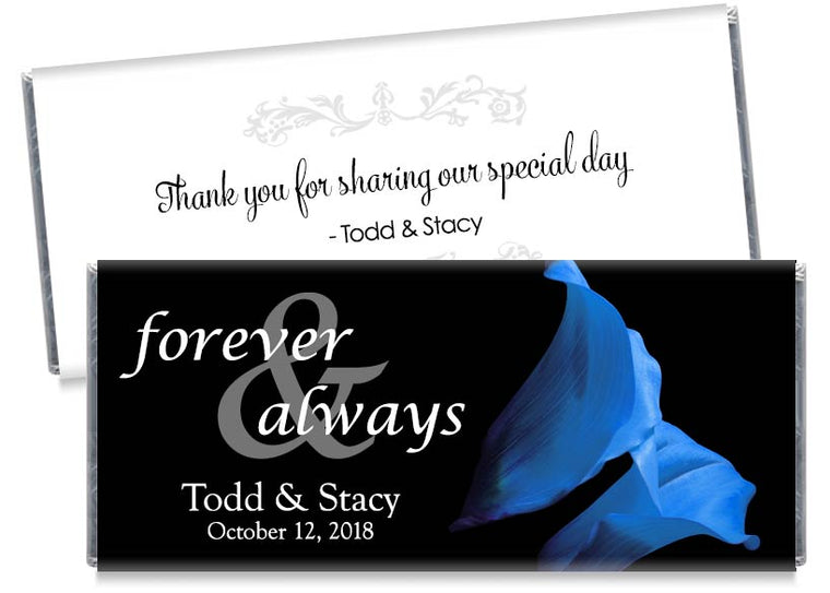 Forever and Always Blue Tulips Wedding Candy Bar Wrappers