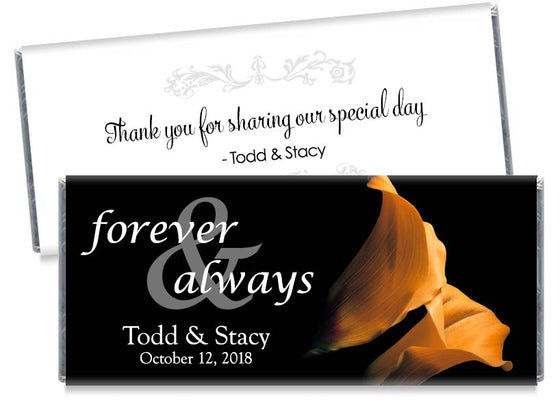 Forever and Always Orange Tulips Wedding Candy Bar Wrappers