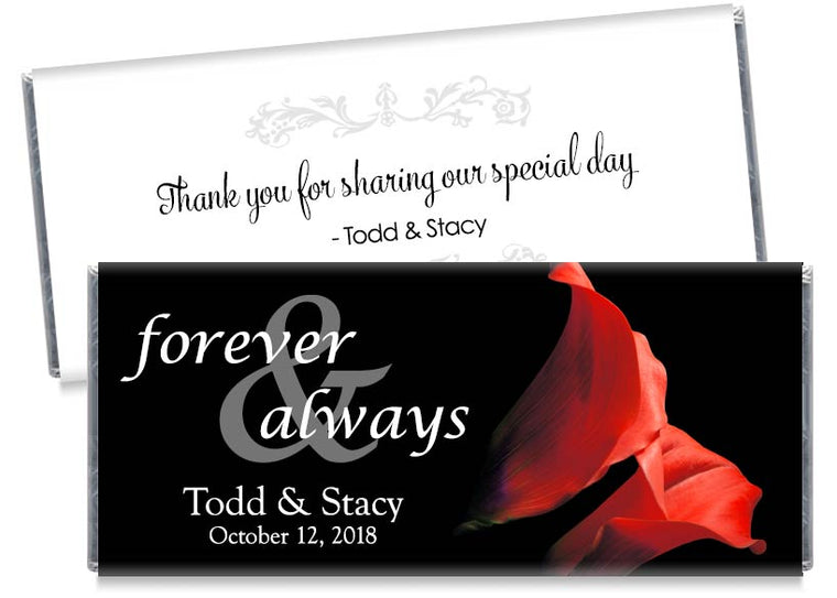Forever and Always Red Tulips Wedding Candy Bar Wrappers