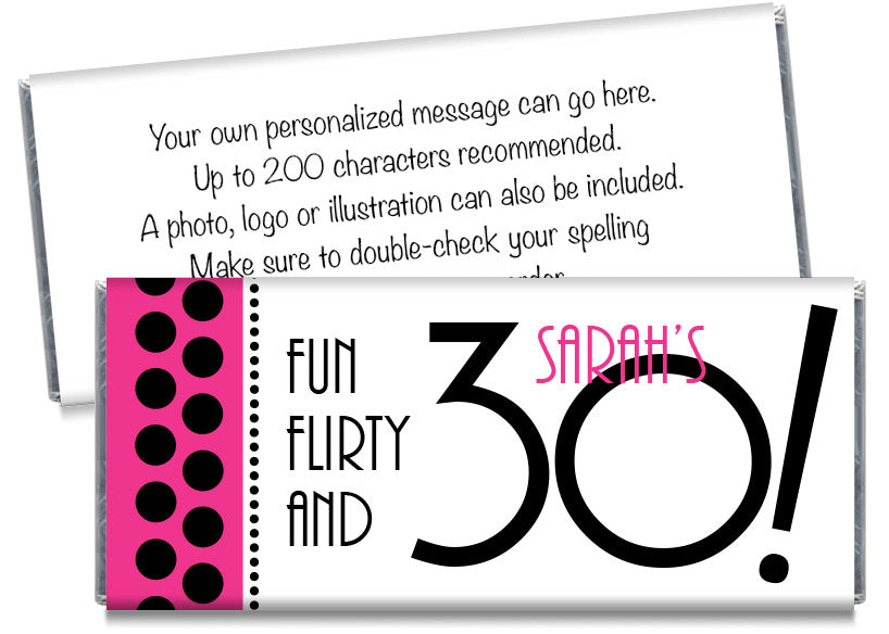 Fun Flirty and 30, any age, Adult Birthday Candy Bar Wrappers