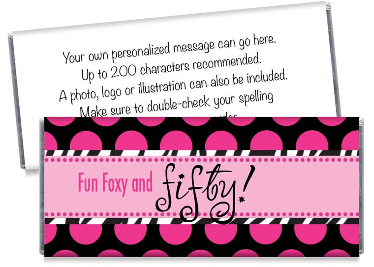 Fun Foxy and Fifty, any age, Adult Birthday Party Candy Bar Wrappers
