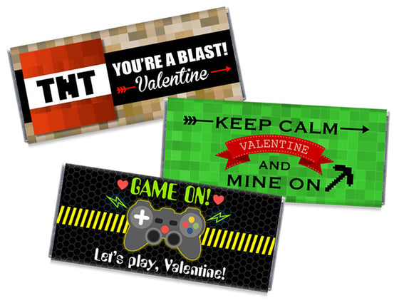 Set of 3 Designs Gaming Valentine's Day Candy Bar Wrappers