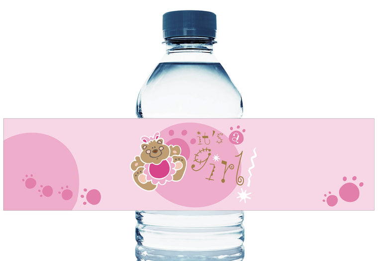 Pink Teddy Bear Personalized Girl Baby Shower Water Bottle Labels